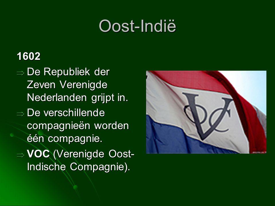 Oost-Indië 1602. De Republiek der Zeven Verenigde Nederlanden grijpt in. De verschillende compagnieën worden één compagnie.