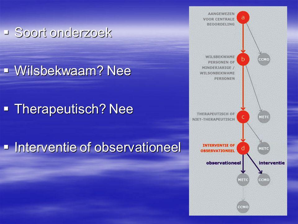 Soort onderzoek Wilsbekwaam Nee Therapeutisch Nee Interventie of observationeel