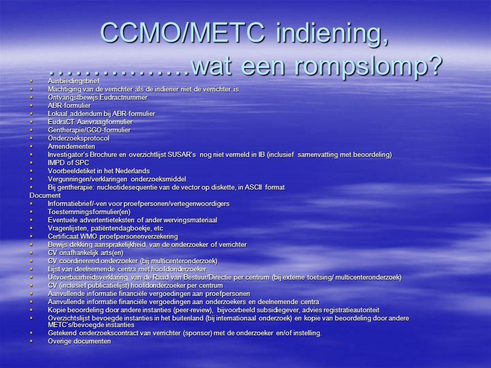 CCMO/METC indiening, …………….wat een rompslomp