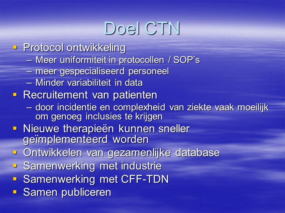 Doel CTN Protocol ontwikkeling Recruitement van patienten