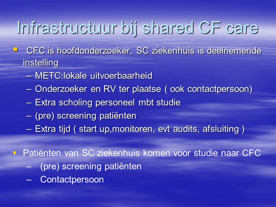 Infrastructuur bij shared CF care
