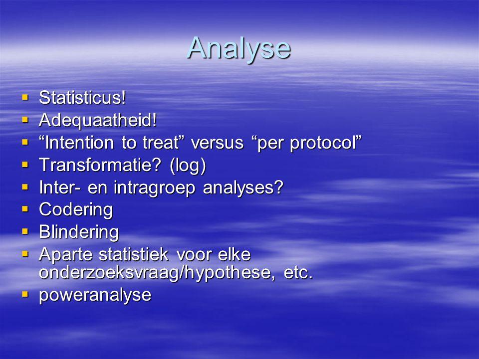 Analyse Statisticus! Adequaatheid!