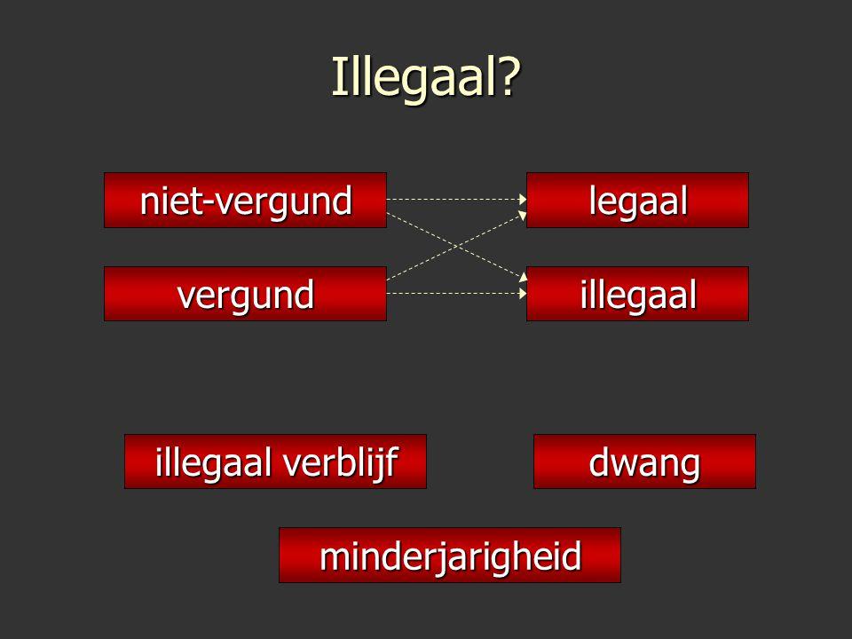 Illegaal niet-vergund legaal vergund illegaal illegaal verblijf dwang