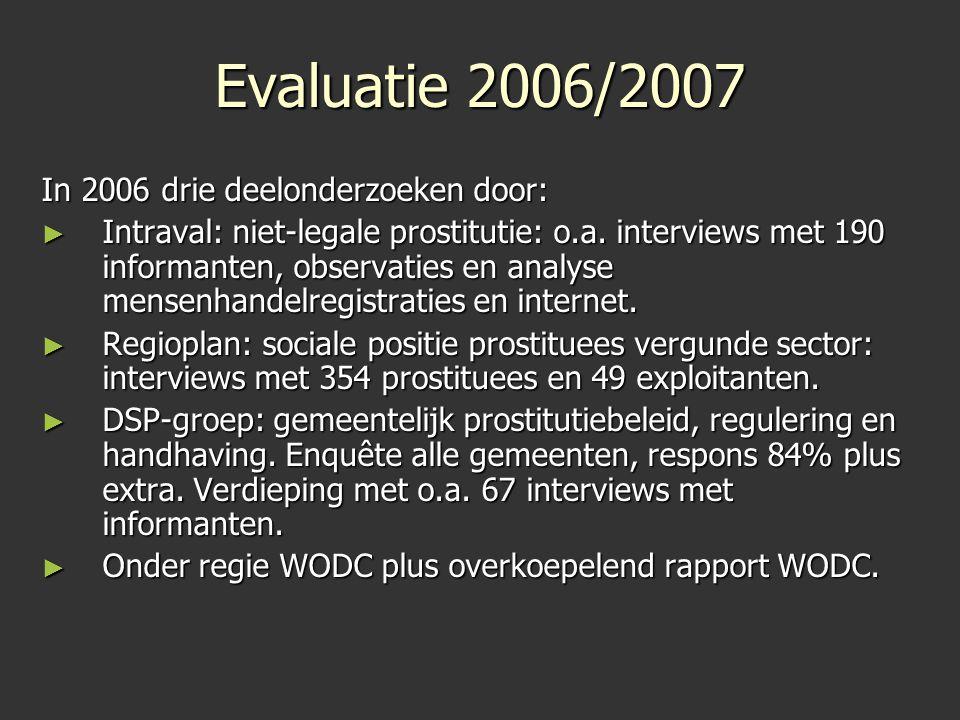 Evaluatie 2006/2007 In 2006 drie deelonderzoeken door: