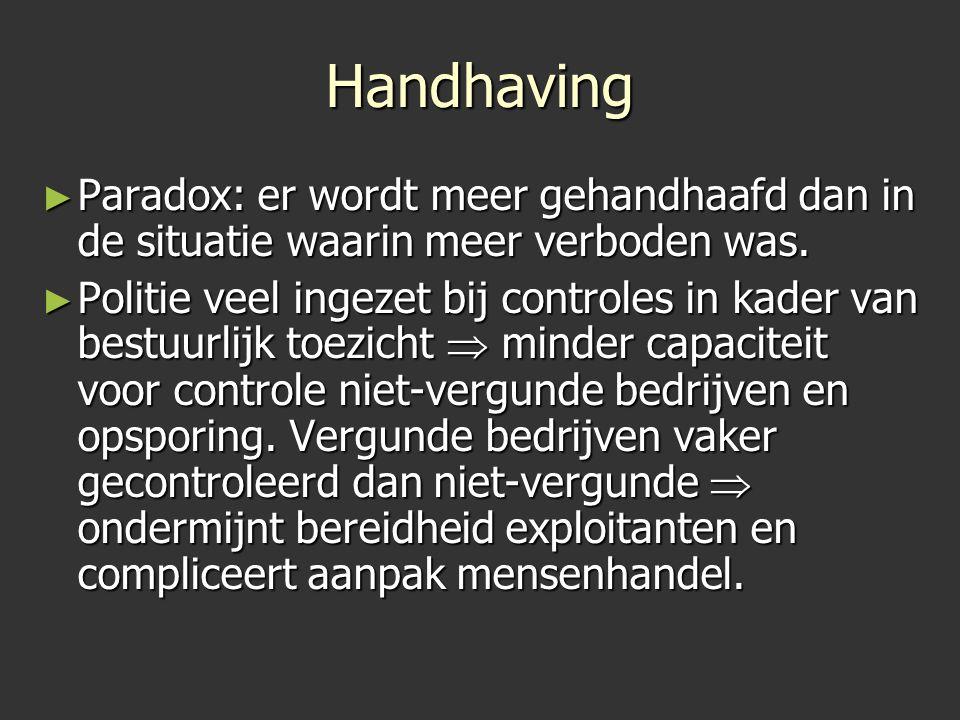 Handhaving Paradox: er wordt meer gehandhaafd dan in de situatie waarin meer verboden was.