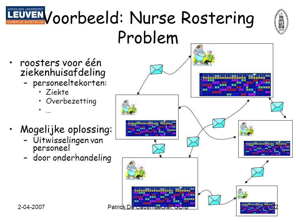 Voorbeeld: Nurse Rostering Problem