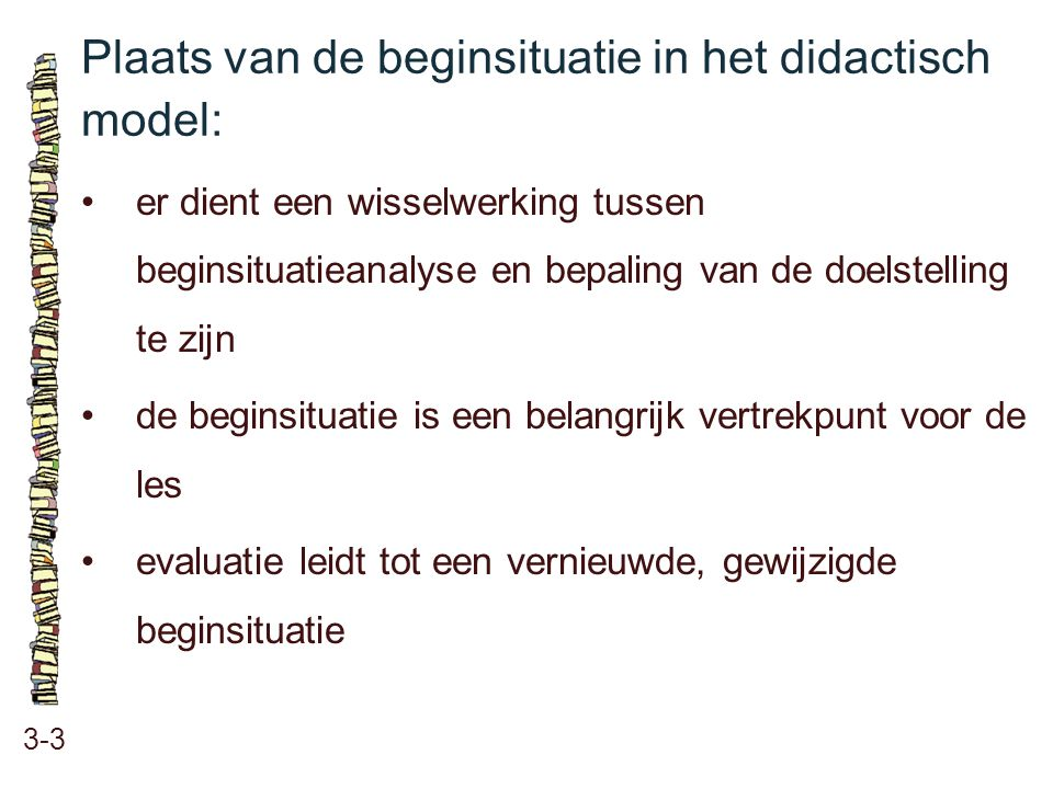 Plaats van de beginsituatie in het didactisch model: