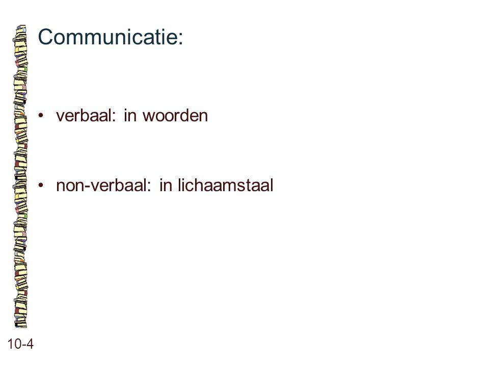 Communicatie: verbaal: in woorden non-verbaal: in lichaamstaal 10-4 58
