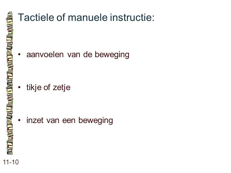 Tactiele of manuele instructie:
