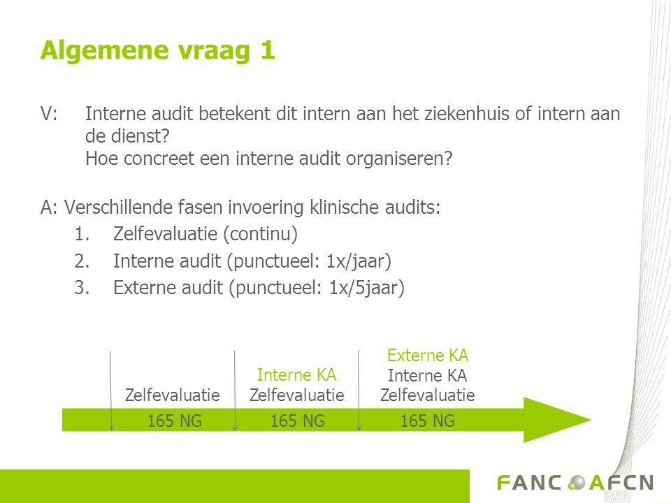 Algemene vraag 1 V: Interne audit betekent dit intern aan het ziekenhuis of intern aan de dienst Hoe concreet een interne audit organiseren