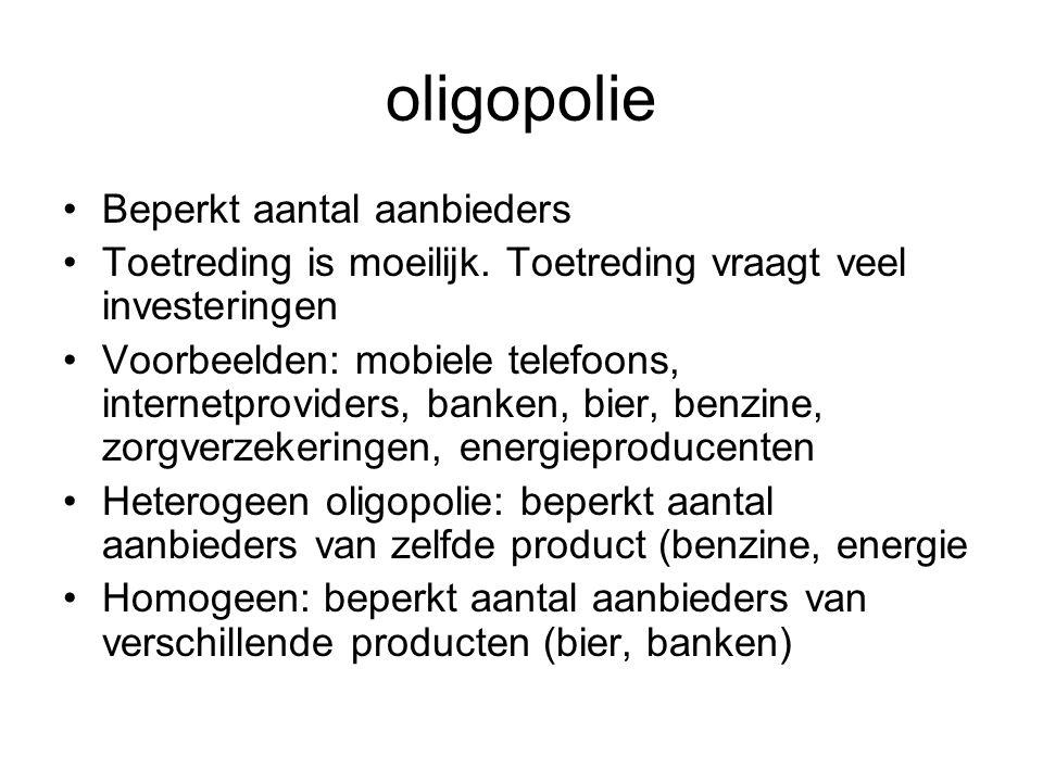 oligopolie Beperkt aantal aanbieders