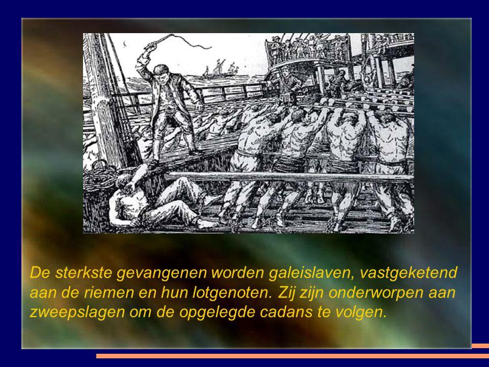 De sterkste gevangenen worden galeislaven, vastgeketend aan de riemen en hun lotgenoten.