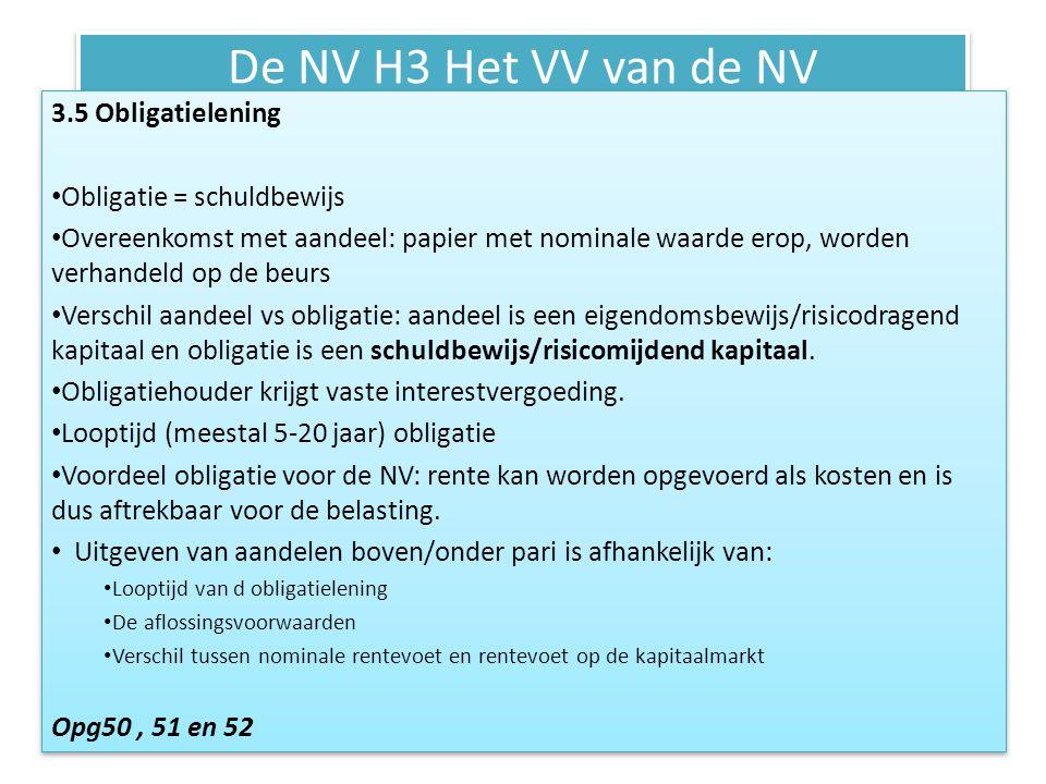 De NV H3 Het VV van de NV 3.5 Obligatielening Obligatie = schuldbewijs