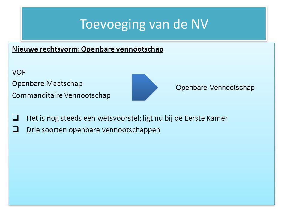 Toevoeging van de NV Nieuwe rechtsvorm: Openbare vennootschap VOF