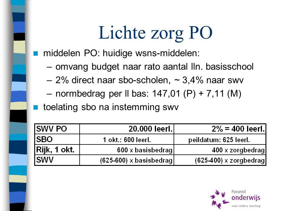 Lichte zorg PO middelen PO: huidige wsns-middelen:
