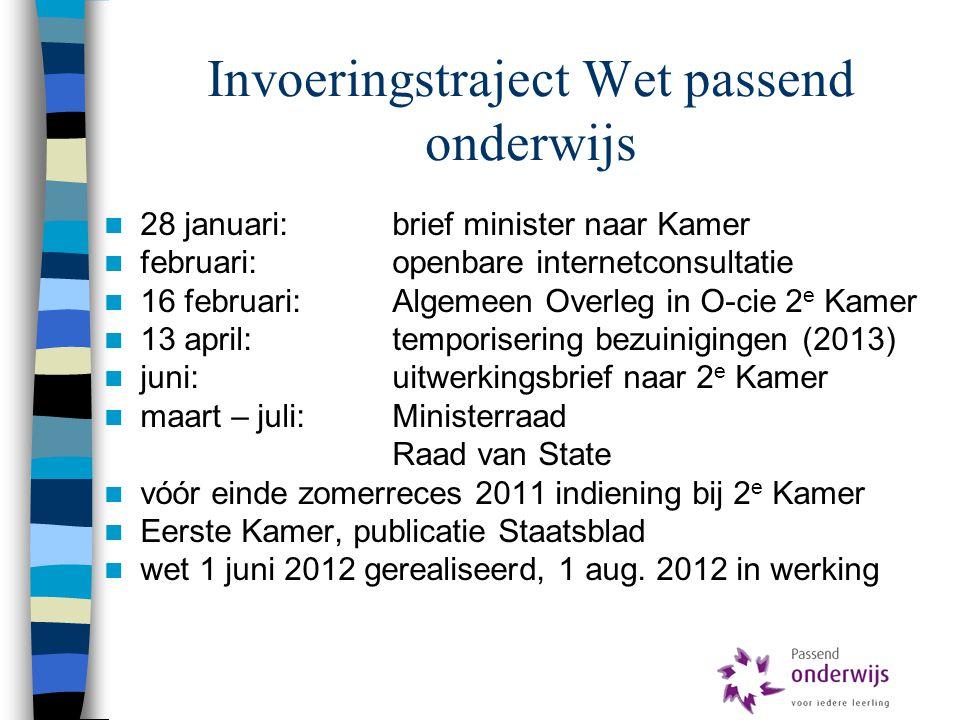 Invoeringstraject Wet passend onderwijs