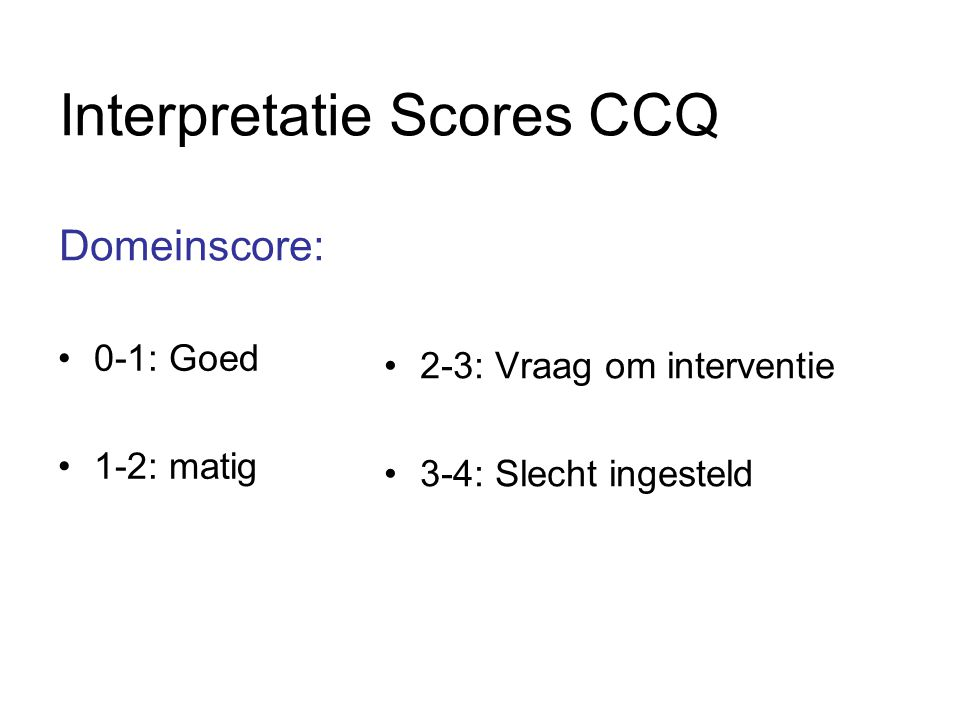 Interpretatie Scores CCQ Domeinscore: