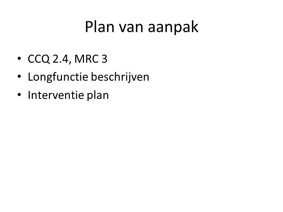 Plan van aanpak CCQ 2.4, MRC 3 Longfunctie beschrijven