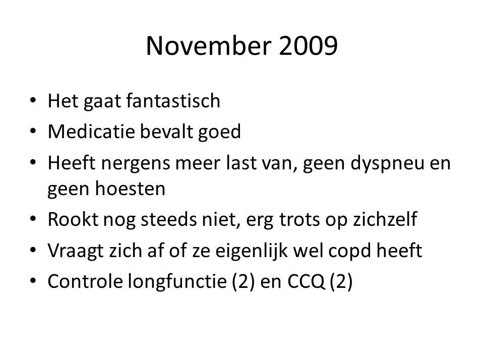 November 2009 Het gaat fantastisch Medicatie bevalt goed