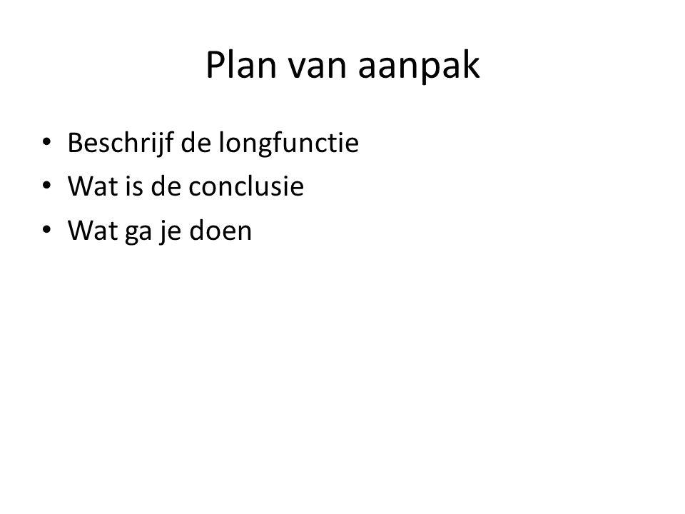 Plan van aanpak Beschrijf de longfunctie Wat is de conclusie