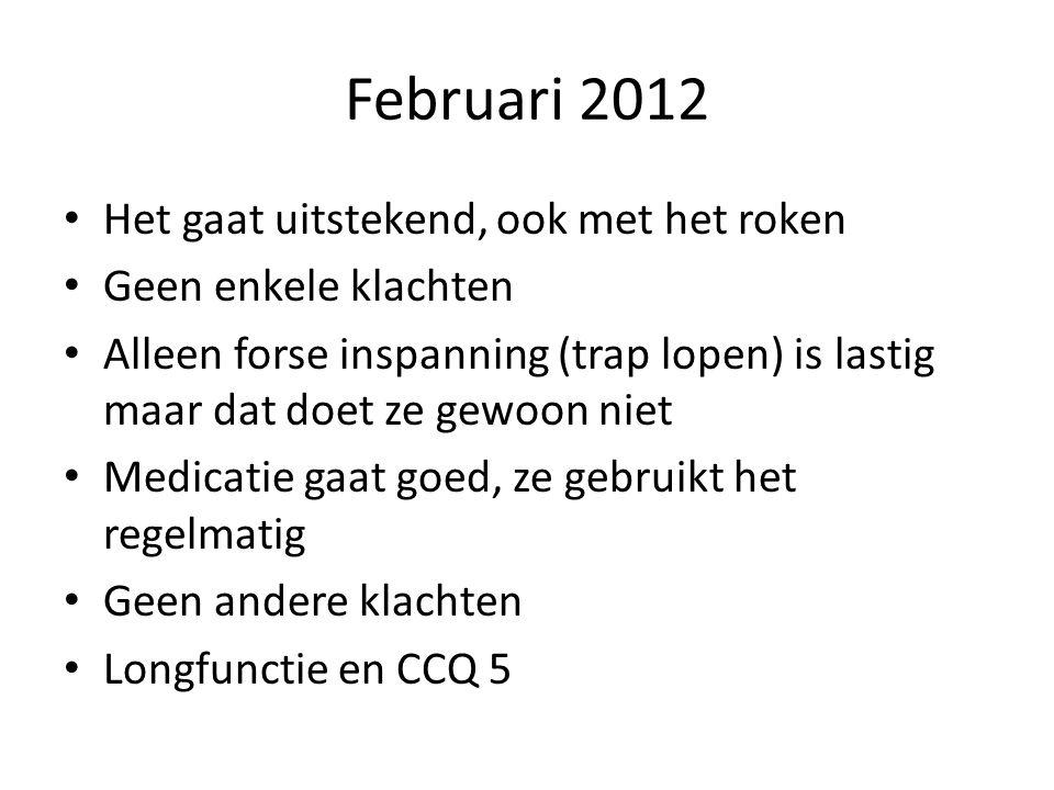 Februari 2012 Het gaat uitstekend, ook met het roken