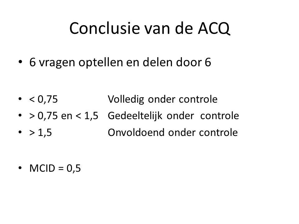 Conclusie van de ACQ 6 vragen optellen en delen door 6