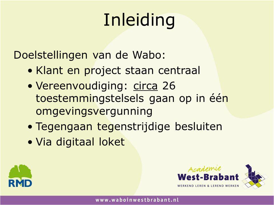 Inleiding Doelstellingen van de Wabo: Klant en project staan centraal