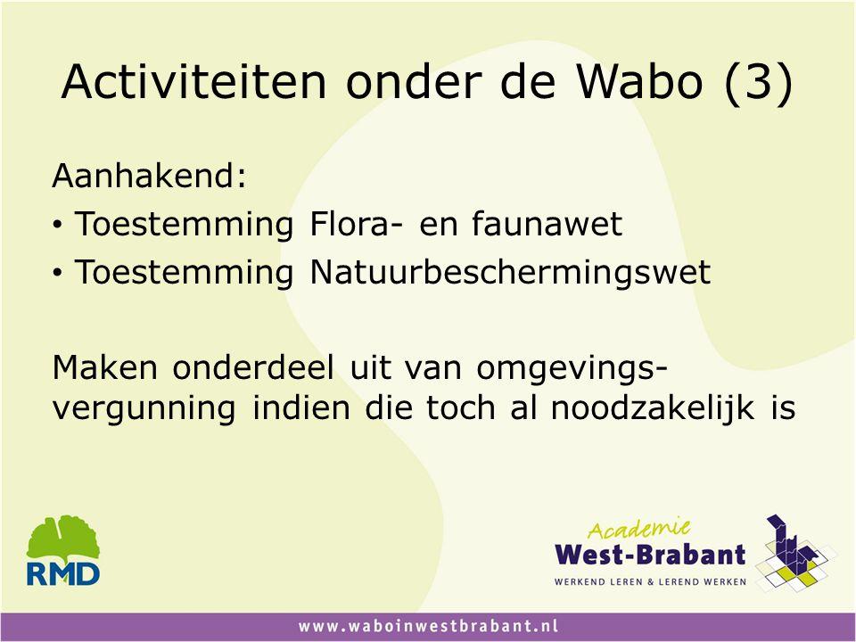Activiteiten onder de Wabo (3)