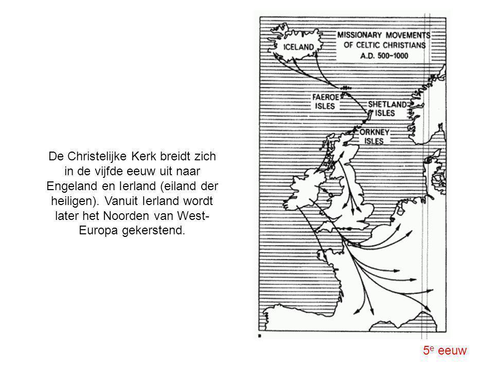 De Christelijke Kerk breidt zich in de vijfde eeuw uit naar Engeland en Ierland (eiland der heiligen). Vanuit Ierland wordt later het Noorden van West-Europa gekerstend.