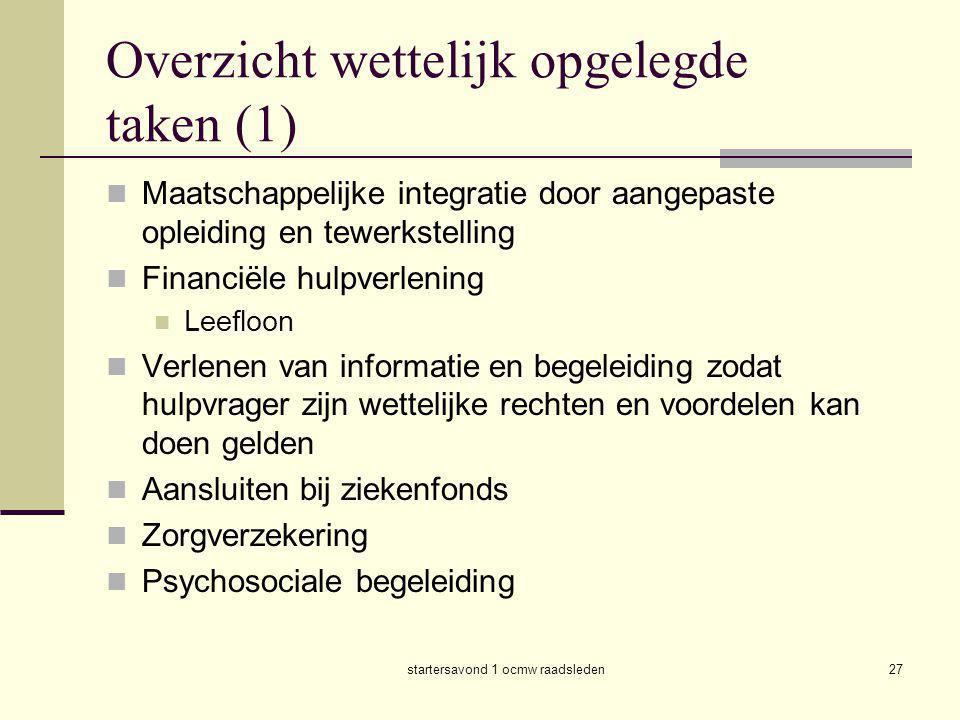 Overzicht wettelijk opgelegde taken (1)
