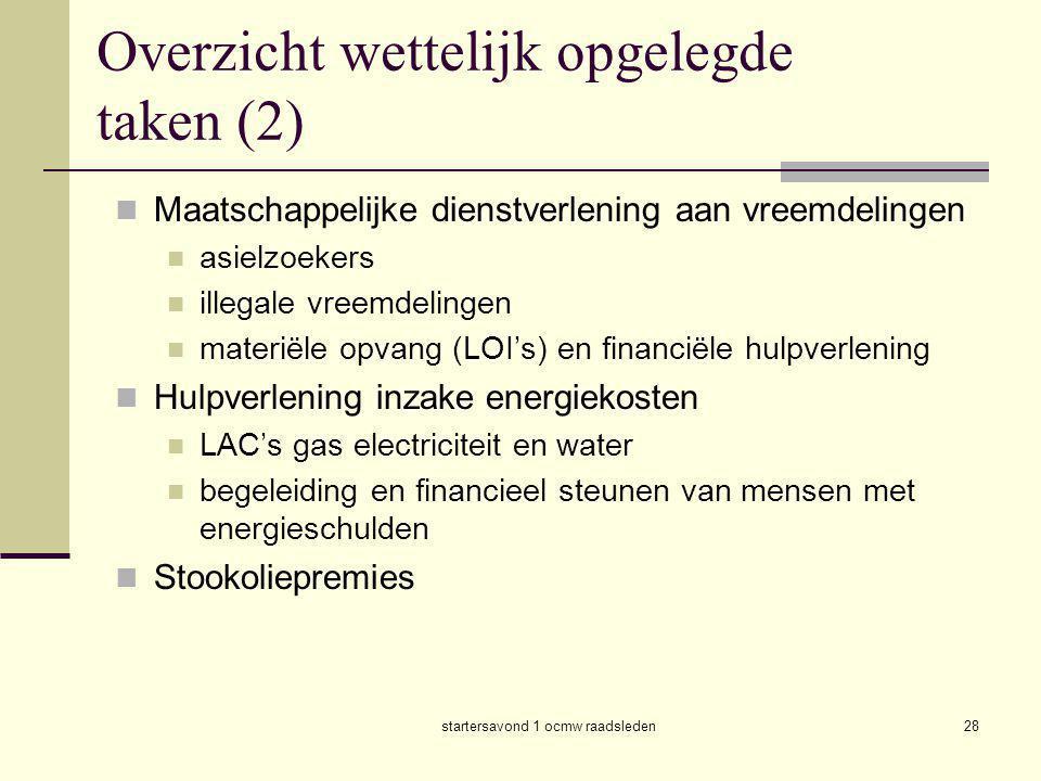 Overzicht wettelijk opgelegde taken (2)