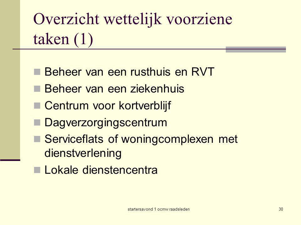 Overzicht wettelijk voorziene taken (1)