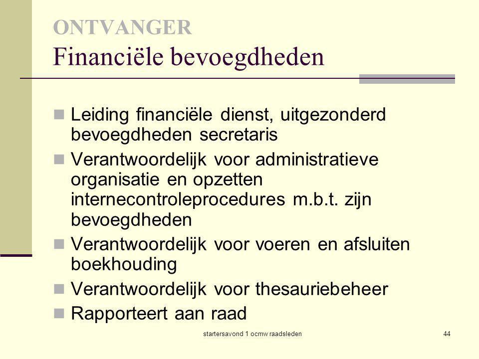 ONTVANGER Financiële bevoegdheden