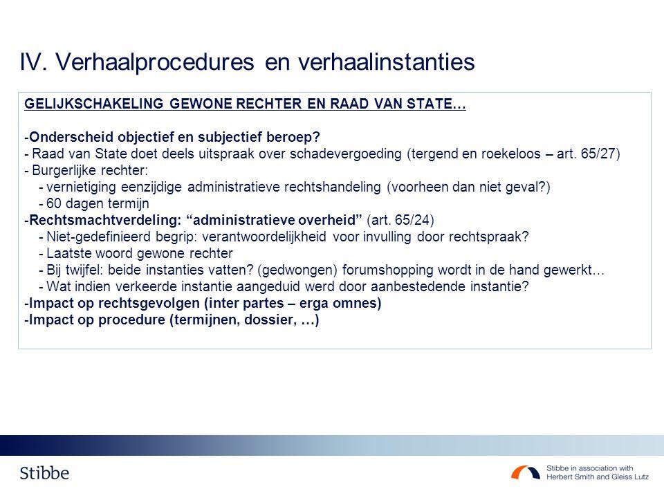 IV. Verhaalprocedures en verhaalinstanties