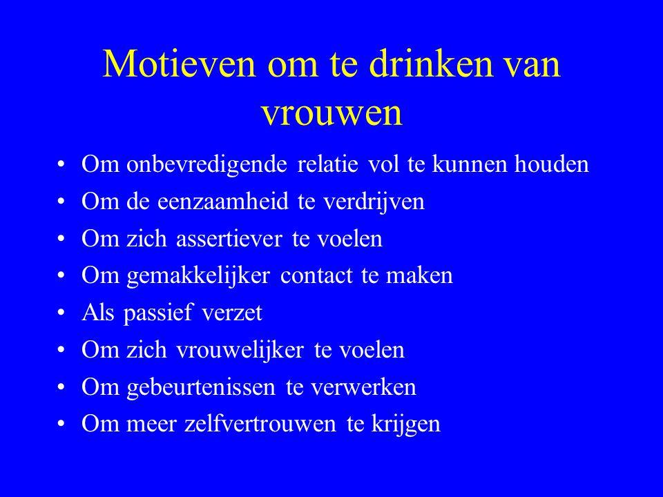Motieven om te drinken van vrouwen