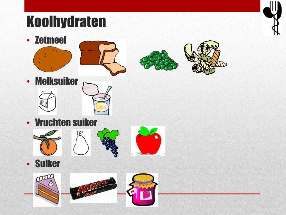 Koolhydraten Zetmeel Melksuiker Vruchten suiker Suiker