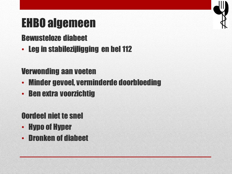 EHBO algemeen Bewusteloze diabeet Leg in stabilezijligging en bel 112