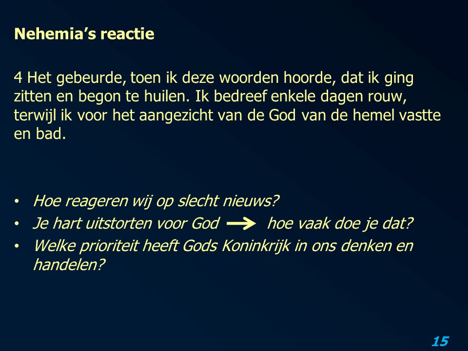 Nehemia's reactie