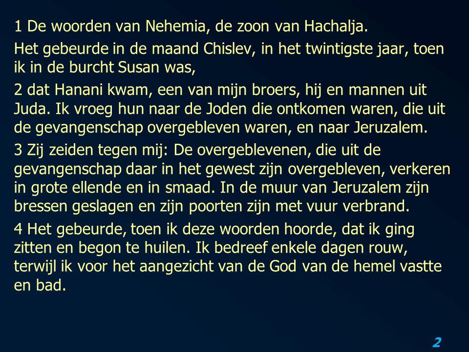 1 De woorden van Nehemia, de zoon van Hachalja