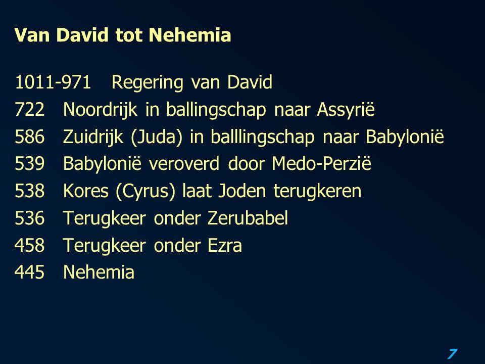 Van David tot Nehemia 1011-971 Regering van David. 722 Noordrijk in ballingschap naar Assyrië. 586 Zuidrijk (Juda) in balllingschap naar Babylonië.