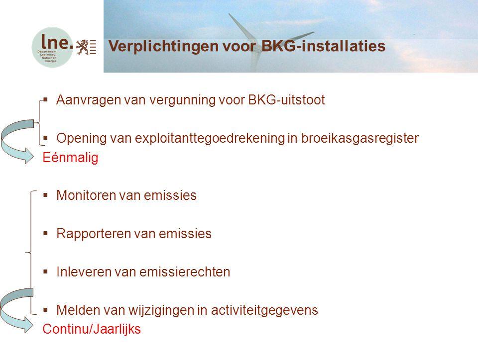 Verplichtingen voor BKG-installaties