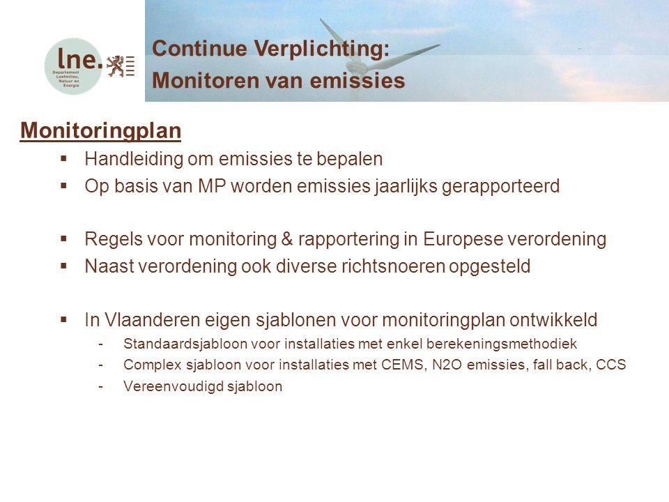 Continue Verplichting: Monitoren van emissies