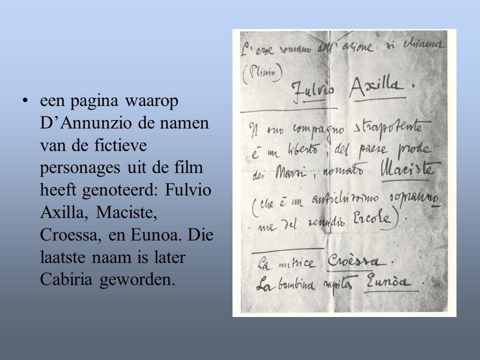 een pagina waarop D'Annunzio de namen van de fictieve personages uit de film heeft genoteerd: Fulvio Axilla, Maciste, Croessa, en Eunoa.