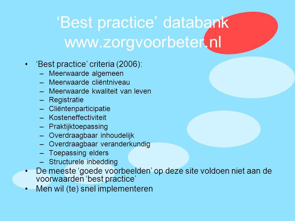 'Best practice' databank www.zorgvoorbeter.nl