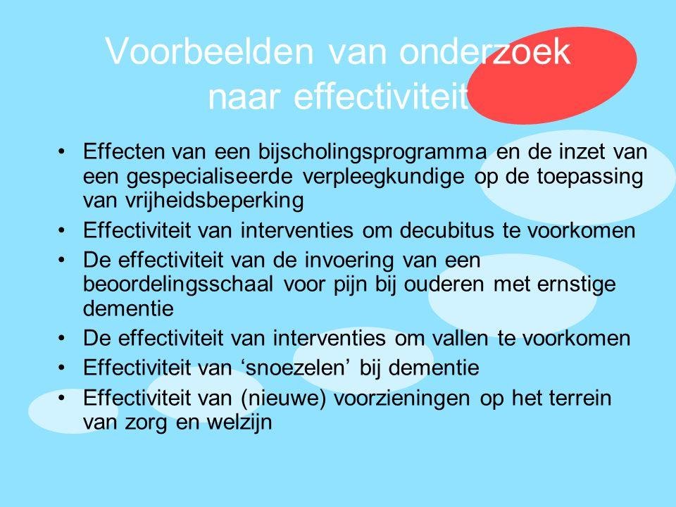 Voorbeelden van onderzoek naar effectiviteit