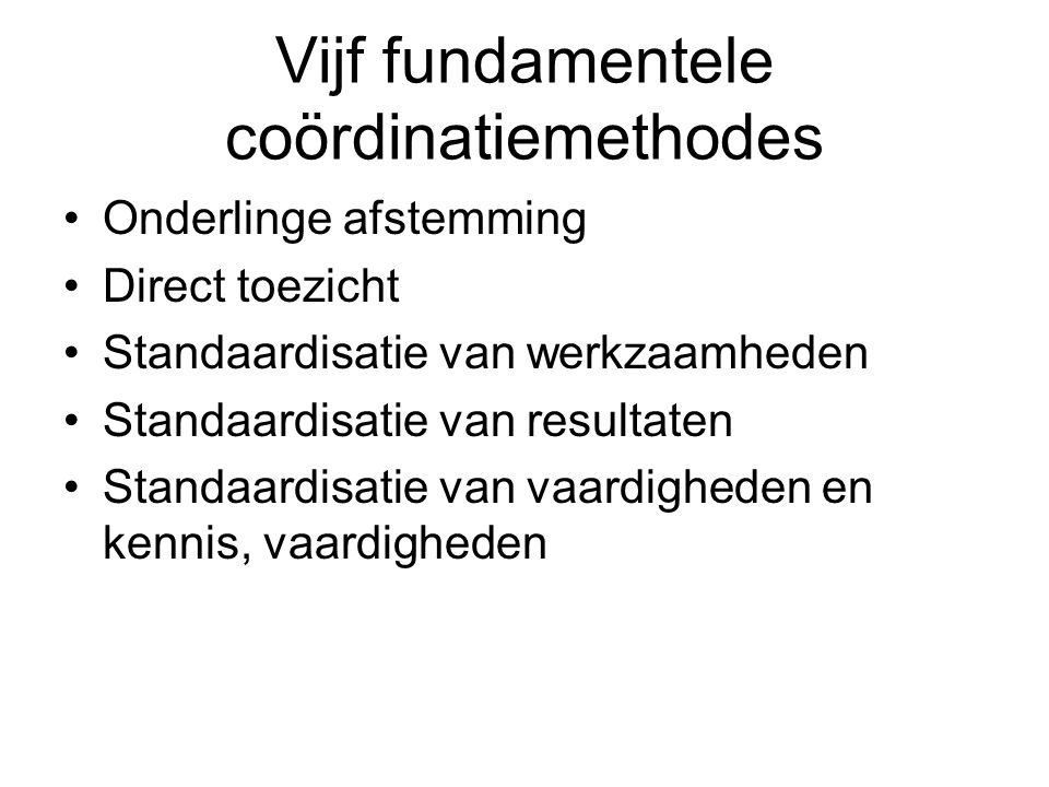 Vijf fundamentele coördinatiemethodes