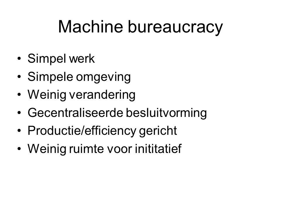 Machine bureaucracy Simpel werk Simpele omgeving Weinig verandering
