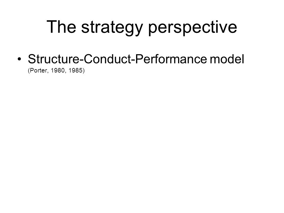 The strategy perspective