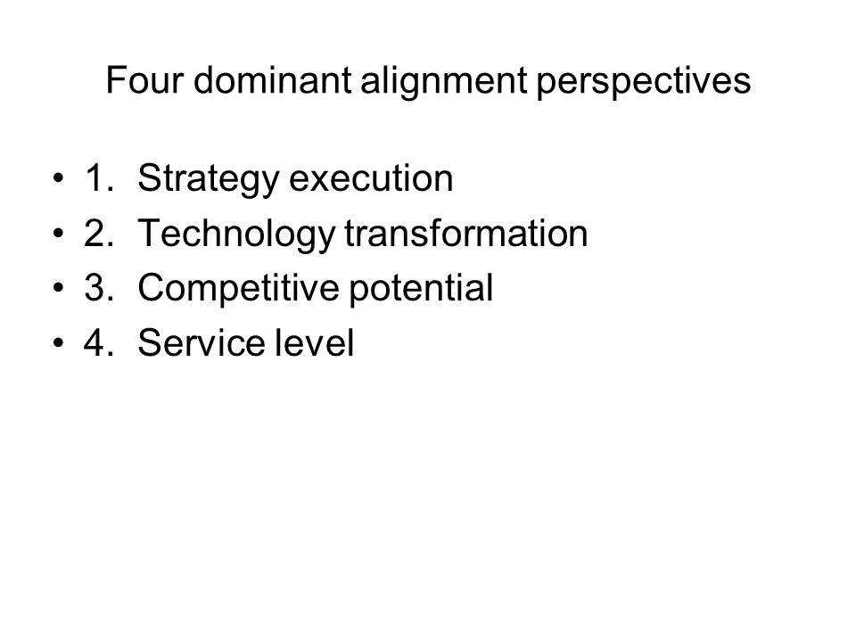 Four dominant alignment perspectives