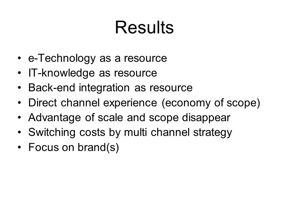 Results e-Technology as a resource IT-knowledge as resource